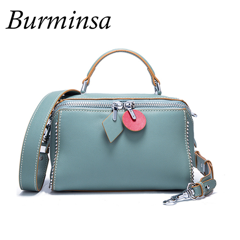 Burminsa Rivet Genuine Leather Boston Bags Women Summer Candy Color Handbags High Quality Wide Strap Shoulder Crossbody Bag 2018 burminsa brand winter round saddle genuine leather bags smiley designer handbags high quality shoulder crossbody bags for women