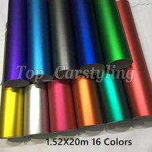 Различные цвета ледяной металлический матовый хром-винил пленка для автомобиля с воздушным выпуском наклейки для автомобиля фольгированные обертки 1,52×20 м/5x67ft