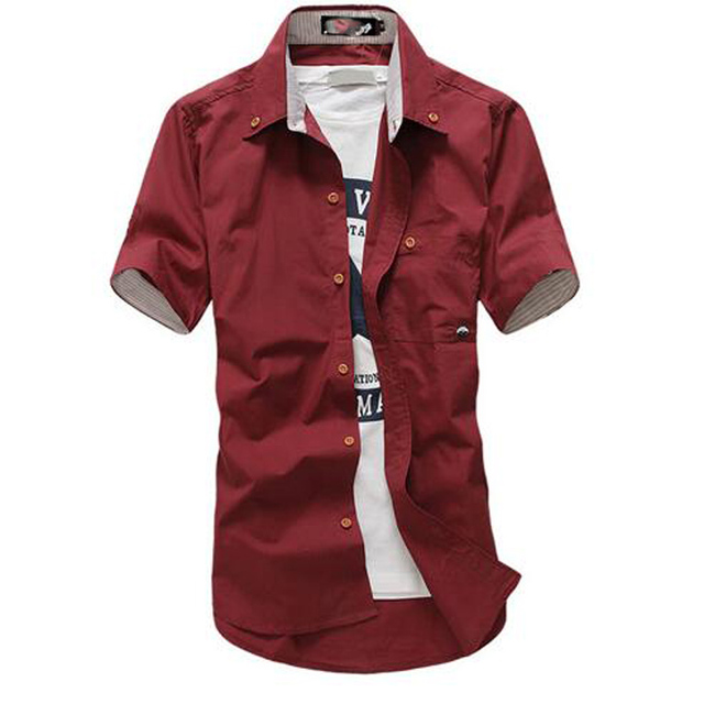 2017 Spring and Summer Hot Models New Men's European Style Fashion Cultivating Wild Solid color  Short-sleeved Shirt C332