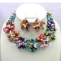 New Arrive Colorful Mother Of Pearl Shell Freshwater Pearl Flower Necklace/Earrings Set 18inch Fashion Party Jewelry Wholesale