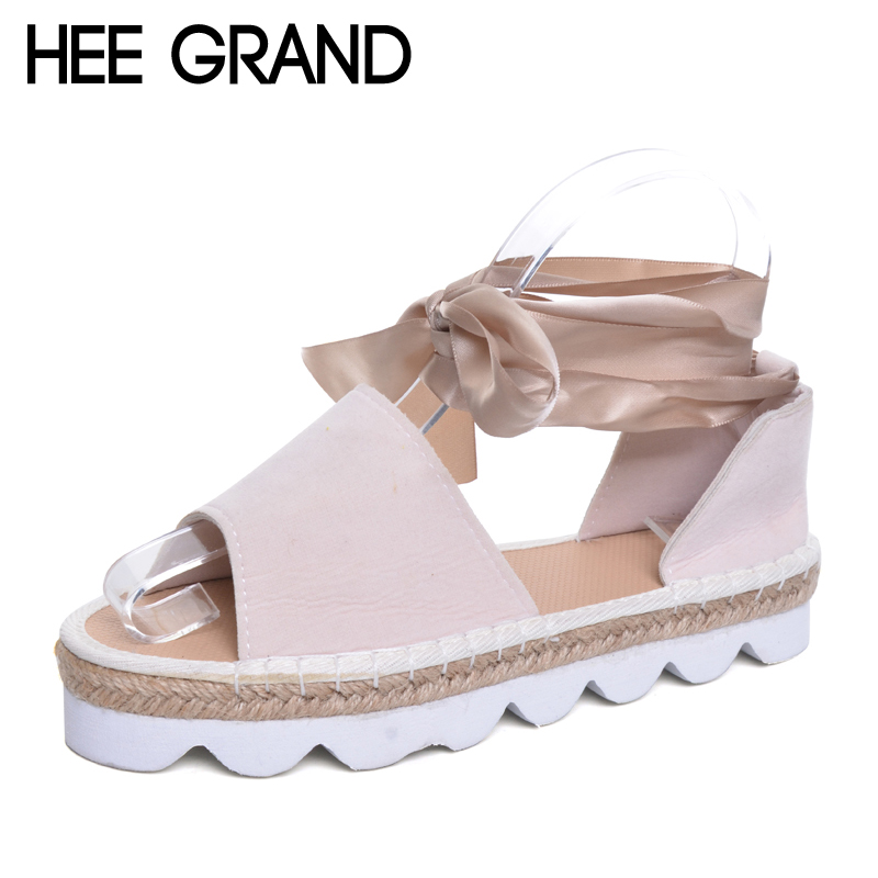 HEE GRAND Riband Lace-up Fashion New Summer Ladies Fish Head Sandals Woman Flat With Shoes Plus Size 35-42 XWZ4505 hee grand gladiator sandals summer style 2017 new flat with shoes woman zip casual sexy women shoes ladies size 35 39 xwz1858