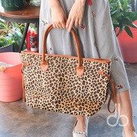 (Korte bont) Groothandel Blanks Luipaard Grote Capaciteit Draagtas Cheetah Vrouwen Handtas met PU Faux Lederen Handvat DOM103369