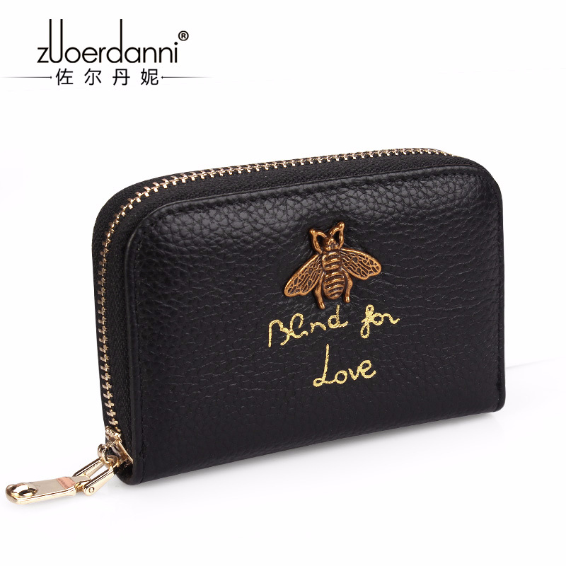 Womens Zipper Genuine Leather ID Card holder Wallets Women Cow Leather Credit ID Holders Female Fashion Card Bag Wallet