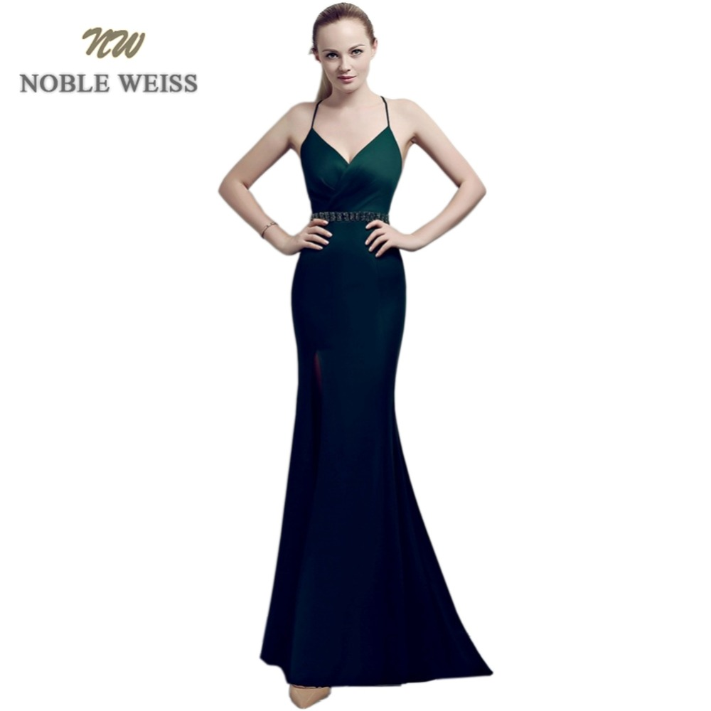 prom dresses long sexy vestido formatura v-neck mermaid side slit beading backless sweep train prom gown