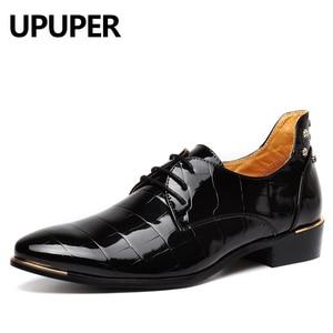 Image 4 - Rivetsรองเท้าDance Partyรองเท้าหนังสิทธิบัตรPointed Toeจัดงานแต่งงานรองเท้าสำหรับชายขนาดสีดำ