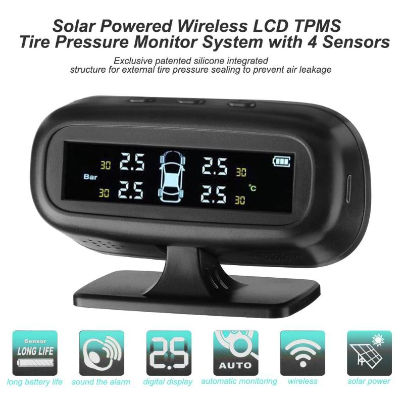 Solar Powered Wireless LCD Screen Car TPMS Tire Pressure Monitoring System with 4 Sensors Alarm Security Systems Car Styling 50pcs lot stm32f103c8t6 stm32f103