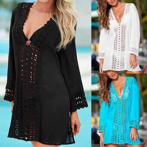 Пикантная женская летняя пляжная одежда с v-образным вырезом, кафтан, Пляжное платье, однотонная пляжная одежда с вырезами, с длинными рукавами, горячая крышка Ups