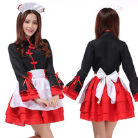 Free Shipping Women Sexy Japan Japanese Lolita Maid Dress Cosplay Costume Maid Outfit Black Tops Red