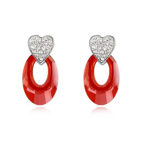Women S White Gold Color Heart Design Made With Swarovski Elements Red Water Drop Crystal