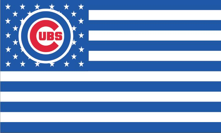 Chicago CUB ubs logo with Stars and Stripes flag white