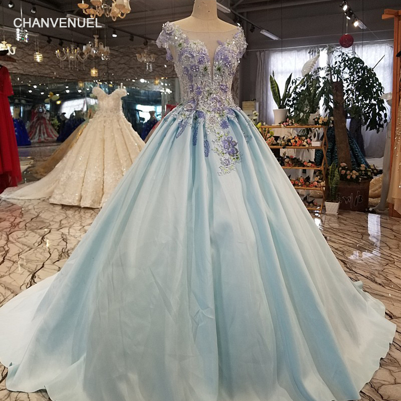 LS1277 cheap light blue a-line evening dress short sleeve lace up back satin dress with train for elegant mothers of brides