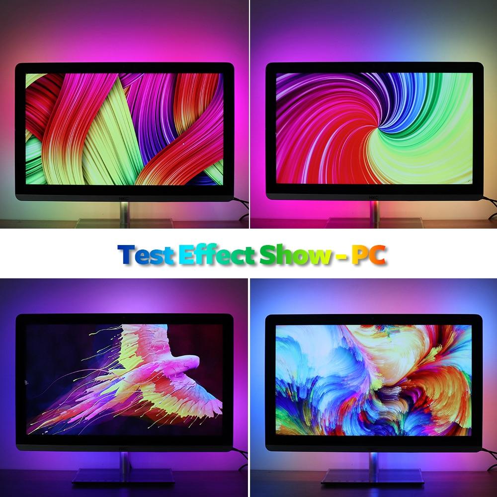 DIY Ambilight TV PC Dream Screen USB LED Strip HDTV Computer Monitor Backlight Addressable WS2812B LED Strip 1/2/3/4/5m Full Set 6