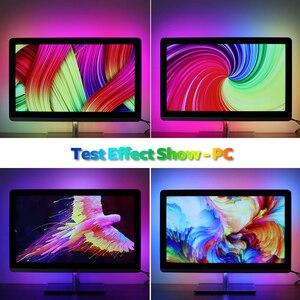 Image 5 - DIY הסביבה טלוויזיה מחשב חלום מסך USB LED רצועת HDTV מחשב צג תאורה אחורית מיעון WS2812B LED רצועת 1/2/3/4/5m סט מלא