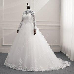 Image 4 - 긴 소매 레이스 지퍼 매력 단추 이슬람 새로운 화이트 웨딩 드레스 2021 환상 신부 가운 빈티지 Vestido 드 Noiva 플러스 크기