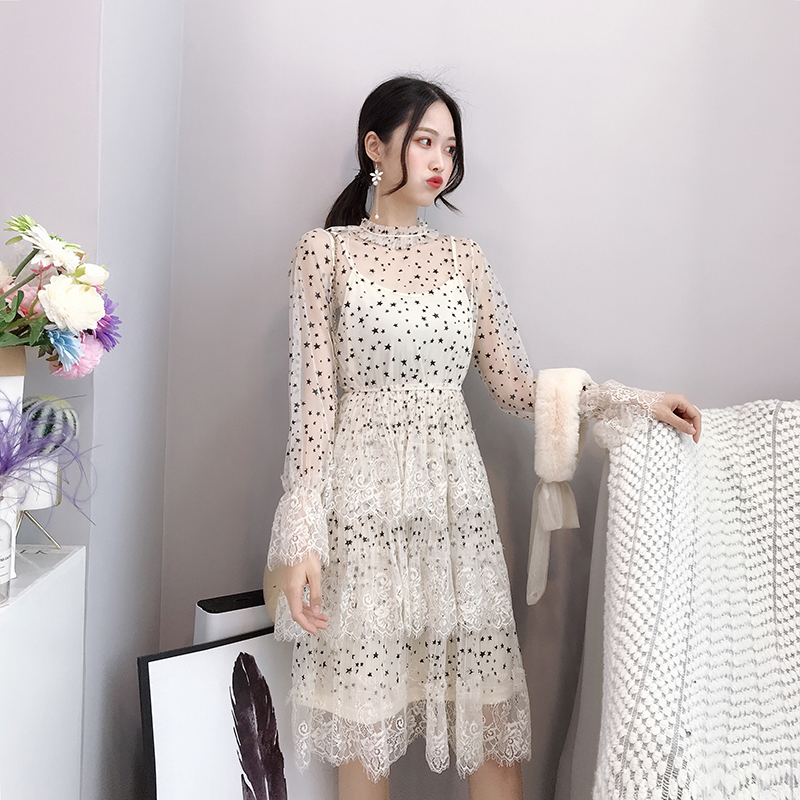 ALPHALMODA 2019 Spring Fur Collar Sweet Bow Stars Print Long-sleeved Multi-layer Women Princess Chiffon Dress + Sling 2pcs Set 4