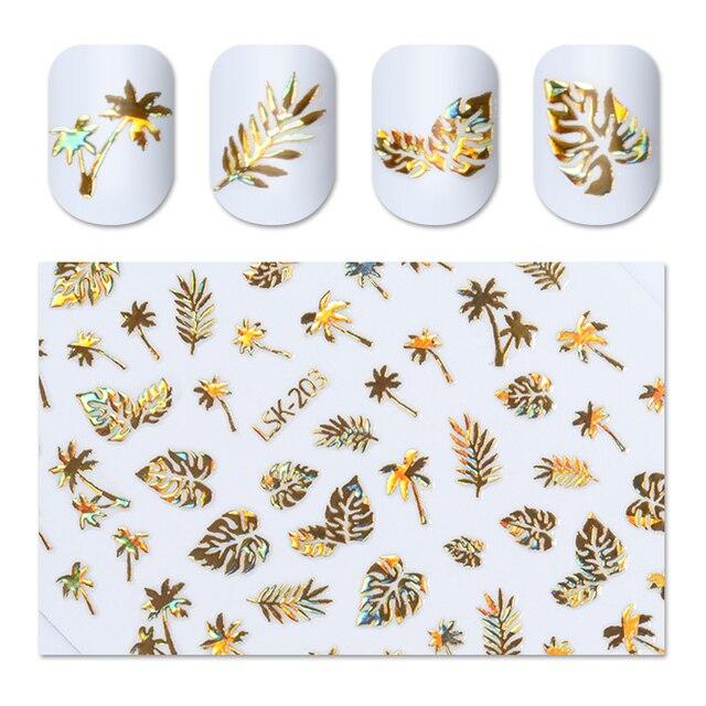 Голографический Золотой 3D стикер для ногтей, лист кокосового дерева, голографический лазер, клейкая наклейка, маникюр, дизайн ногтей, 1 лист