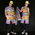 2016 hombres de béisbol de Hip Hop para hombre cantante masculino de impresión traje de chaleco trajes cortos ropa de vestir exteriores Stage Show Wear