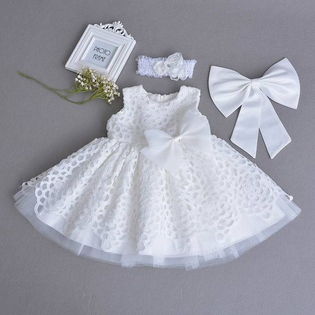 eeea1b95c Retail Baby Girl Christening Gown Lace White Sleeveless First Birthday Day  Party Dress Headband Kids Clothing 0-2Y E70106