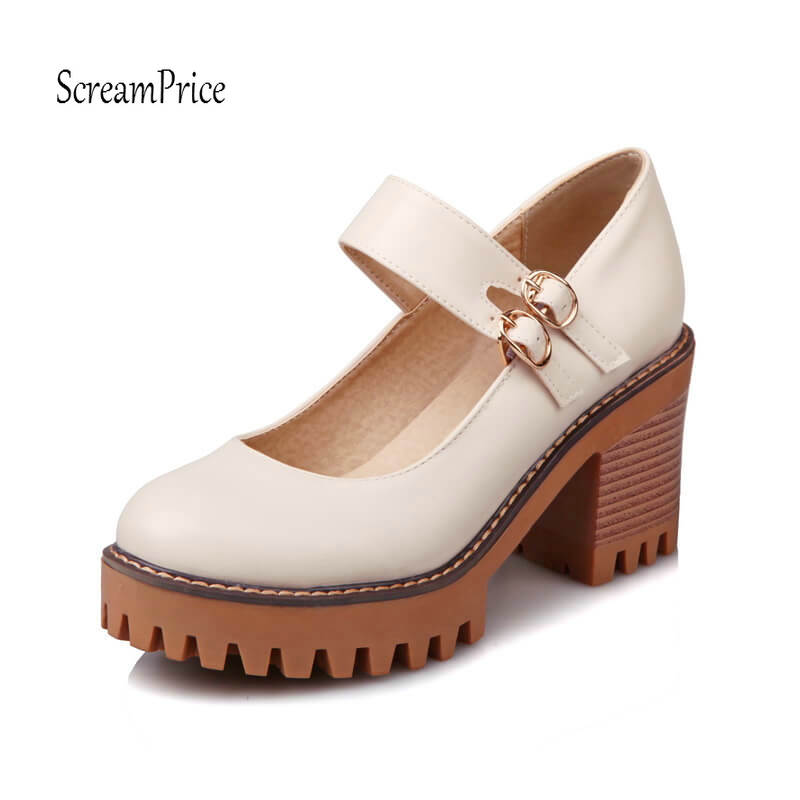 Women Chunky High Heels Platform Mary Jane Pumps Fashion Buckle Round Toe Casual Shoes Spring Fall Black Beige Gray Color nayiduyun women casual shoes low top platform wedge high heels boots round toe slip on pumps punk chic shoes black white sneaker