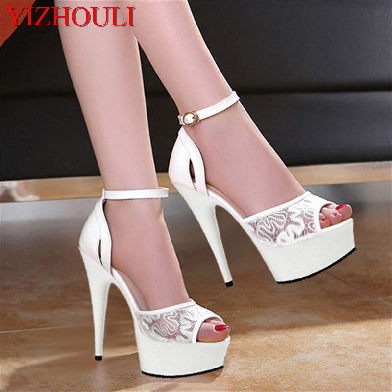 Ayakk.'ten Yüksek Topuklular'de Beyaz düğün gelin ayakkabı Paketi ile sahne elbise ayakkabı ince 15 cm süper yüksek topuklu su geçirmez sandalet'da  Grup 1