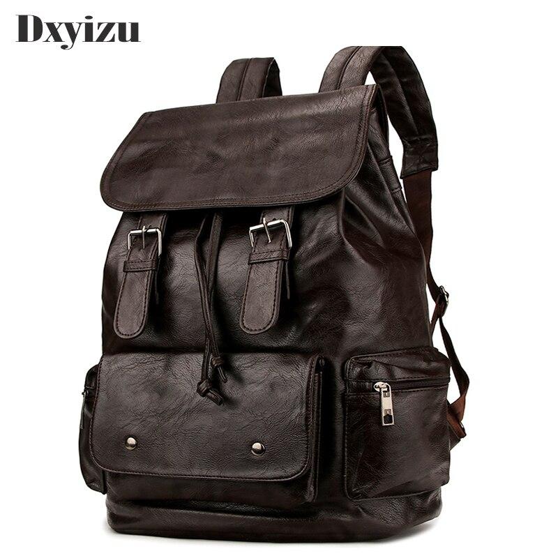2019 New Brand Man BackpackS Vintage Solid Large-Capacity Backpacks Male Travel Leather Rucksack Shoulder School Bag Mochilas