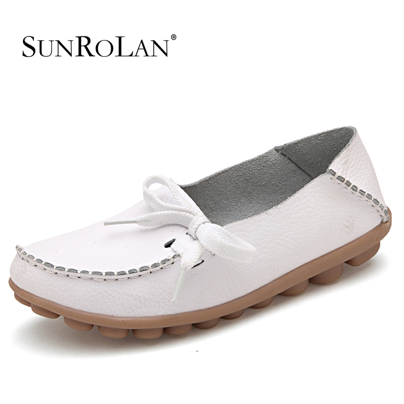 Breathable Leather Slip On Walking Women S Shoes