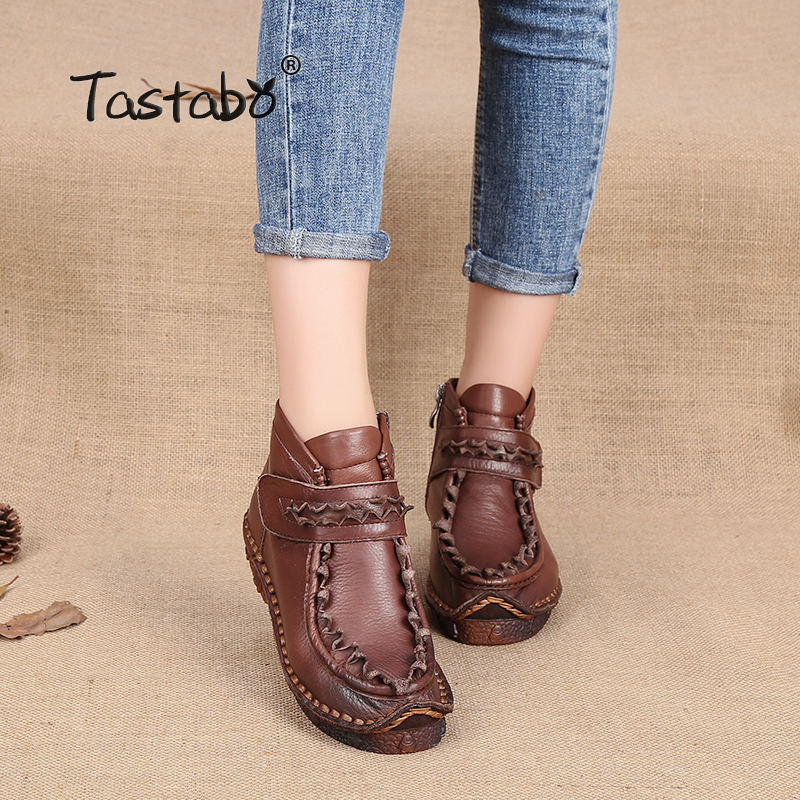 Tastabo 2017 Handmade Martin Boots Ankle Boots For Women Genuine Leather Shoes Retro Elegant shoes winter Folk Style mom shoes tastabo 2017 fashion handmade boots for women genuine leather ankle shoes vintage mom women shoes round toes martin boots