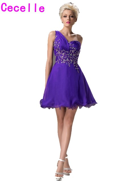 2019 Hot Short Homecoming Dresses Purple One Shoulder A-line Beaded Chiffon  Juniors Homecoming Cocktail Dresses With Straps d7decdae7