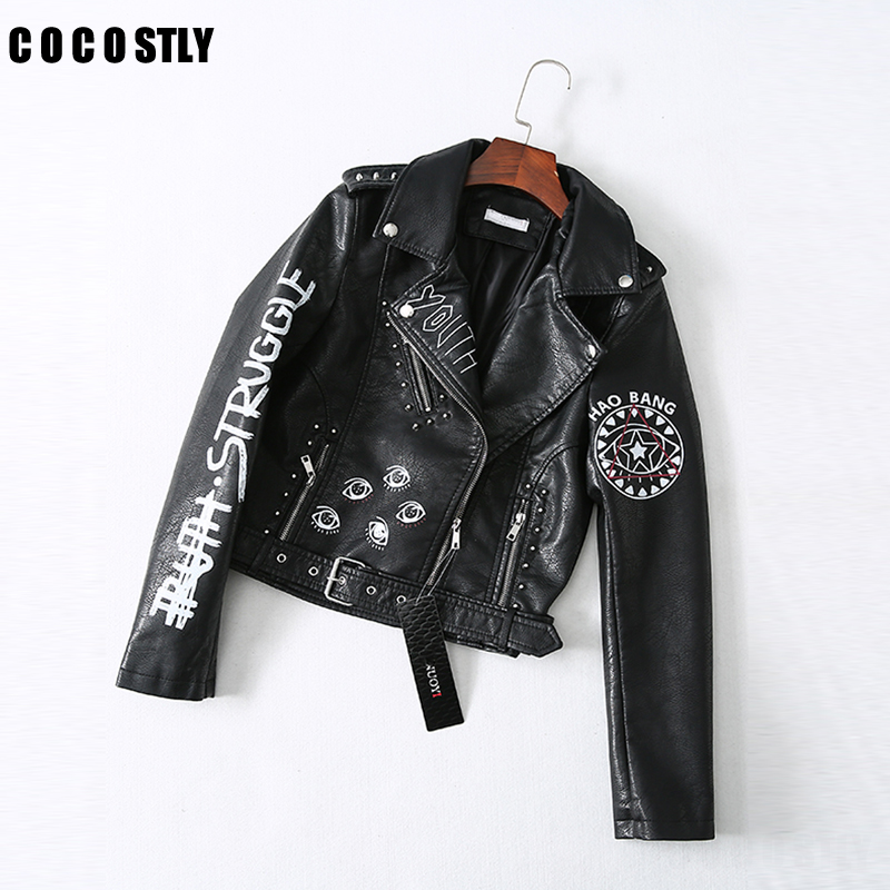 Printed Letters Rivet   Leather   Jacket Women Punk Moto Coat Black Faux Biker Jacket jaquetas couro Casaco chaquetas 2019