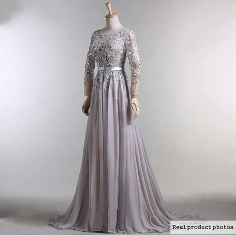 44ac67f2547 2018 шифон бисером с длинным рукавом серый цвет мусульманских Дубай Кафтан  формальный вечернее платье халат de