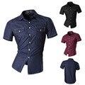 Melhor Venda Nova Moda Curto Mangas Botão Para Baixo Camisas de Vestido dos homens Slim Fit Casuais Bolso Duplo Camisas Top Z028