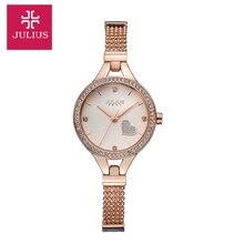 Юлий леди женщина наручные часы кварцевых часов лучший мода платье сеть браслет в форме сердца девушки на день рождения мемориальные подарок на день рождения 849