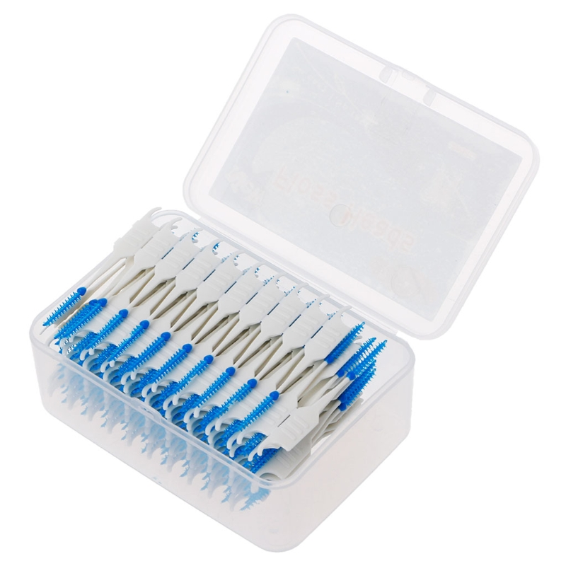 1 Set 20/40/120/200pcs Double Floss Head Hygiene Dental Silicone Interdental Brush Toothpick New Hot Selling