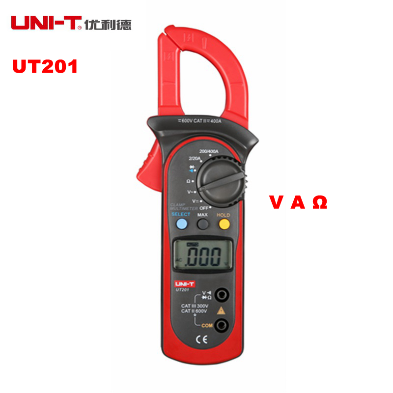 UNI-T UT201 AC 2A~400A Digital Clamp Multimeter AC/DC Voltage Detector AC Current Resistance/Ohm Meter Tester Auto Range