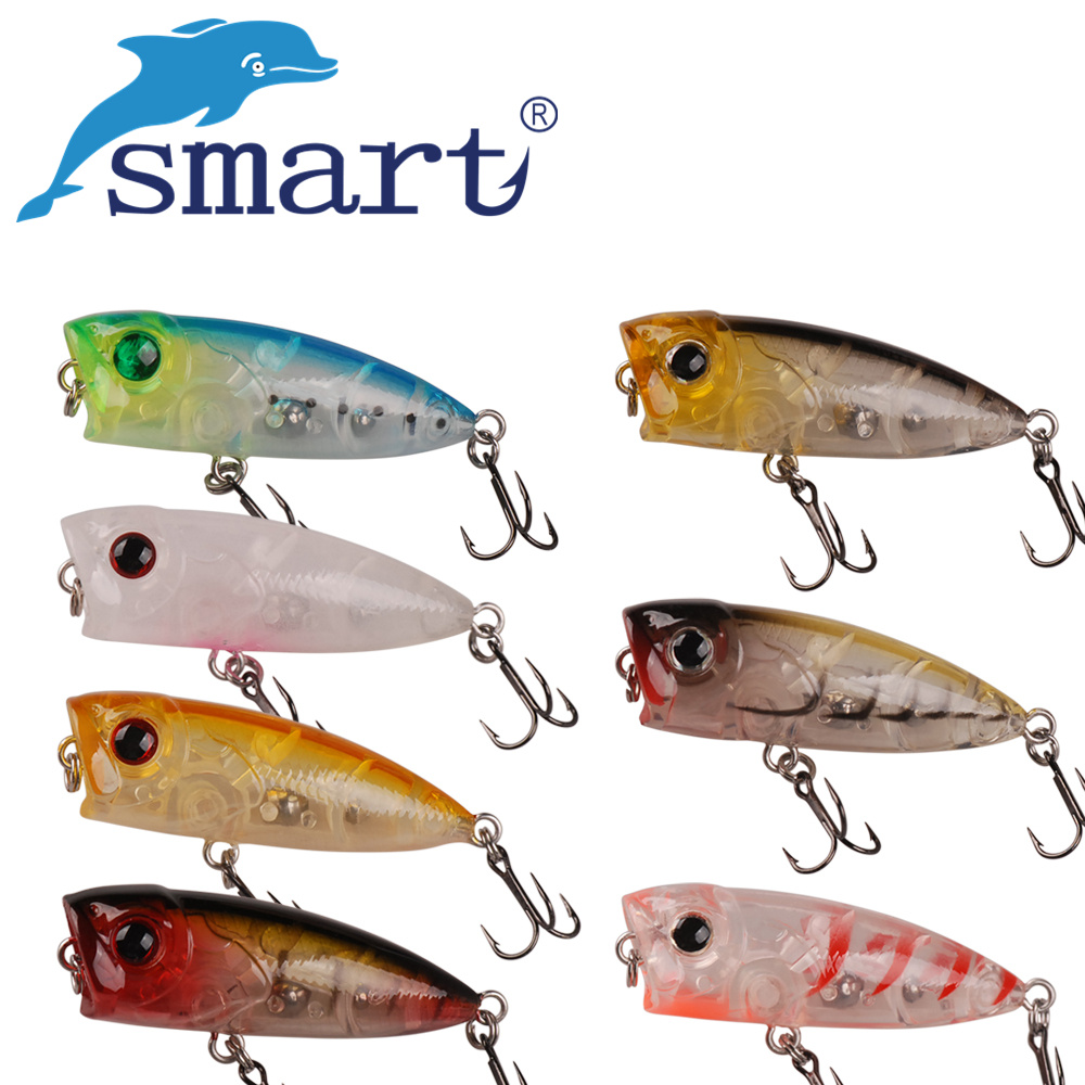 Smart Lure 40mm/3.1g Top Water Popper Bait With VMC Hook Fishing Lures Top Water Bait Artificial Leurre Para Pesca De Peche cd аудиокнига бисмарт сказки для маленьких принцесс страна сказок jewel box