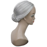 StrongBeauty Stage performance wig Women Old Lady's Wig Silver Gray Synthetic Cosplay Hair Wigs