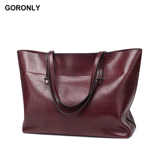 GORONLY Brand Women Tote Bag Fashion Leather Handbag Female Designer  Shoulder Bags Ladies Casual Purses Solid 06fe62f525