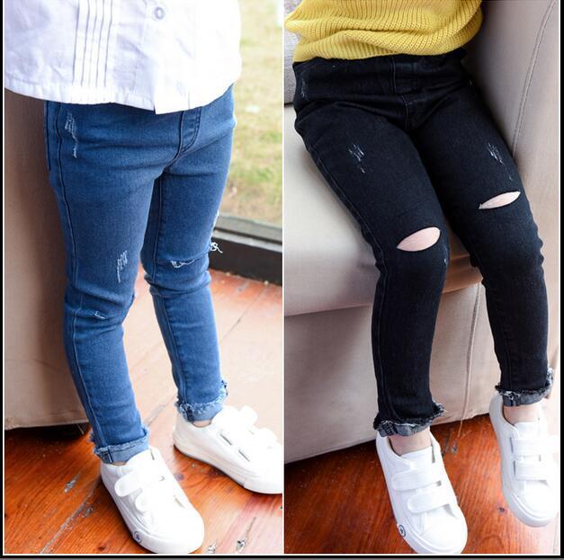 Bebés de los Pantalones Vaqueros Pantalones de los Nuevos niños de Corea 2016 primavera primavera ropa pantalones Vaqueros del agujero