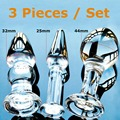 Pyrex glass butt plugs set Crystal anal dildos beads fake male penis masturbator female sex toy adult products for women men gay