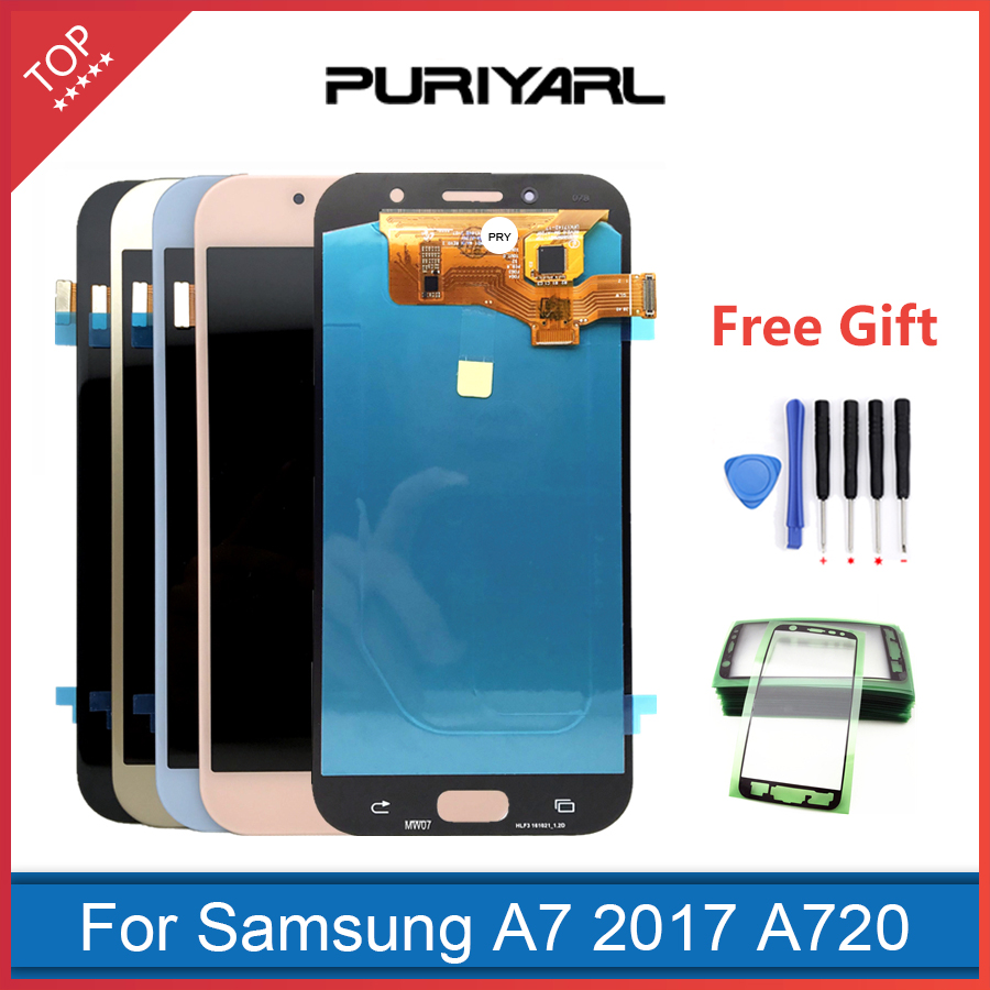AAA <font><b>AMOLED</b></font> LCD Screen For Samsung Galaxy A7 2017 A720 A720F A720M A720Y LCD Display Assembly Replacement Free Shipping