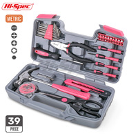 Hi Spec 39pc Hand Tool Set Pink Girl Lady Women Gift Household Tool Set Repair Tools & Kits Toolbox Screwdriver Wrench Hammer