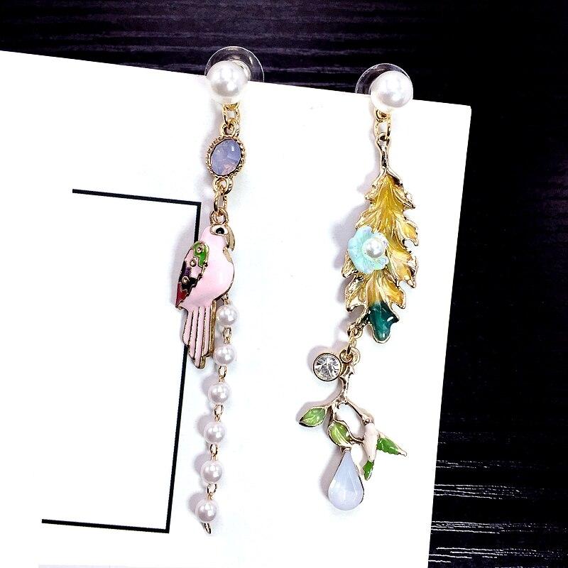 TrinketSea Trendy Enamel Amimal Long Drop Earrings With Pearl Flower Crystal Asymmetric Earrings 2018Fashion Jewelry Brincos