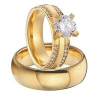 Custom Top Quality classic Alliances cubic zirconia titanium finger engagement couple wedding rings set for men and women
