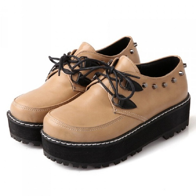 Personality Rivet Platform Flats Women Shoes Lacing Round Toe Thick Heel  Heighten Ladies Apricot/Black