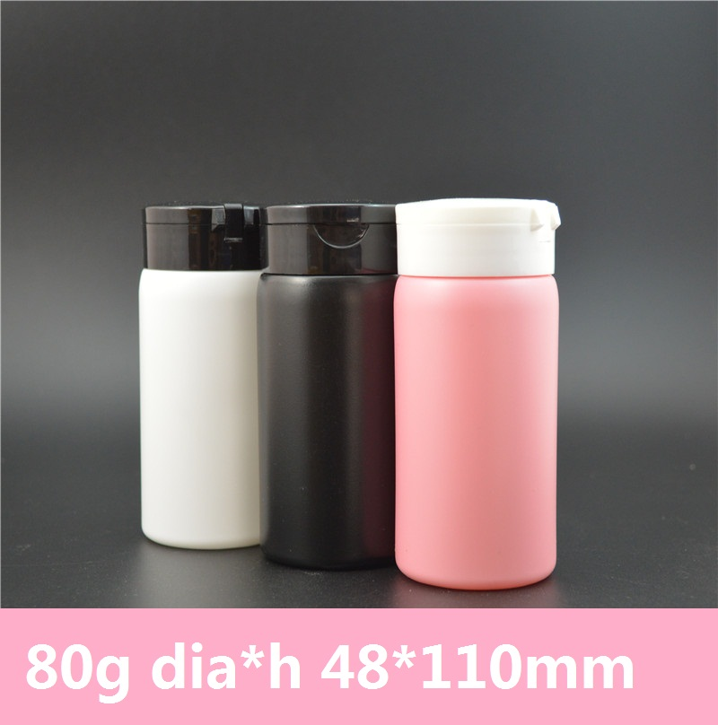50pcs/lot 80g Powder 150ml Bottles Blank PINK/BLACK/WHITE Colors Baby Powder Plastic PE Bottles Empty Talcum Powder Container