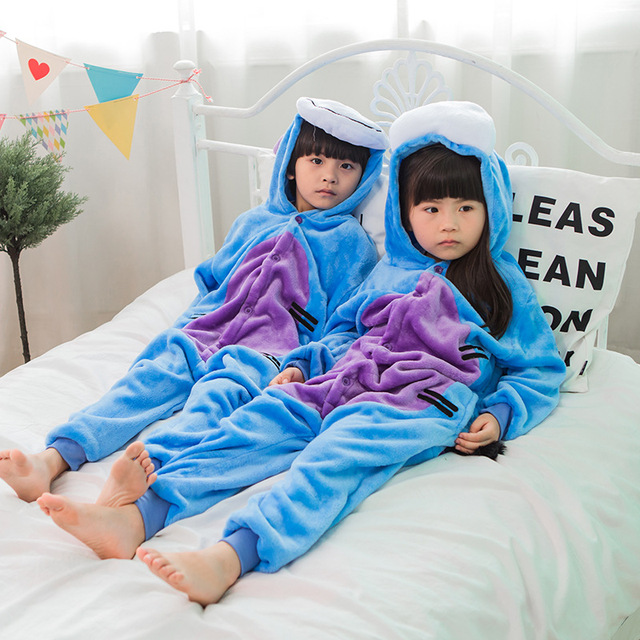 Kids Animal Pajama Unisex Boy Girl Cartoon Pyjama Minions Pikachu Unicorn Stitch Pijama Onesie Hoodie Sleepwear