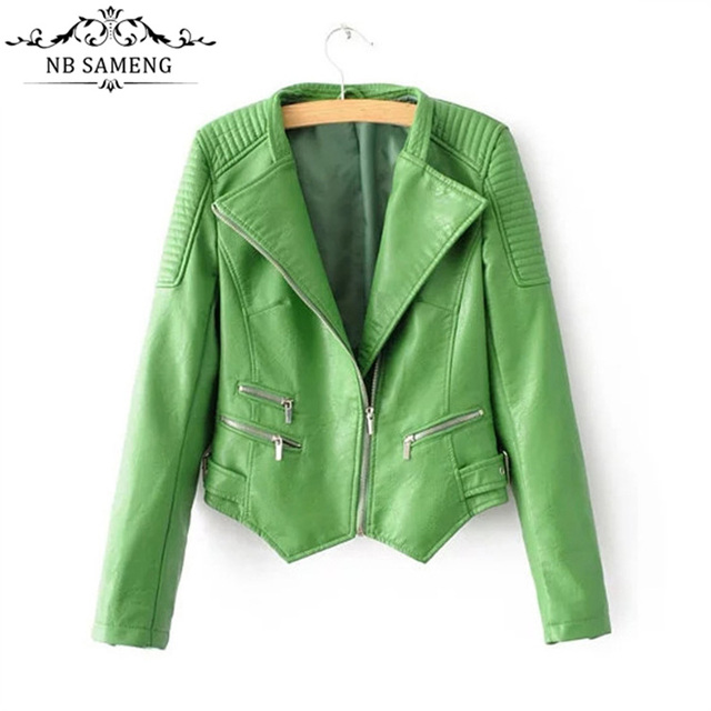 New Fashion Slim Green Biker Zipper Women Coats Turn-down Collar Short Motorcycle Jacket Outerwear Female Faux Leather Plus Size