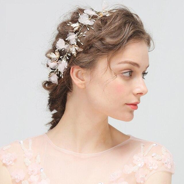 Fascino Della Farfalla di Cerimonia Nuziale Fasce Nuziali Dei Capelli Fiore  Copricapo Perla Handmade Hairwear per 441a366b8d27