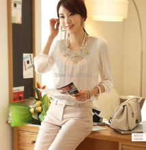 Women Office Lady Fashion Elegant White Lace Embroidered Long Sleeve Chiffon Blouse Tops Shirt S/m/l/xl#m2 2a08