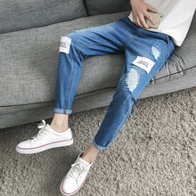 Top quality 2019 spring Autumn straight Ripped hole jeans men leisure Teenagers Cowboy denim Distressed patches Ankle pants distressed top denim ankle boots